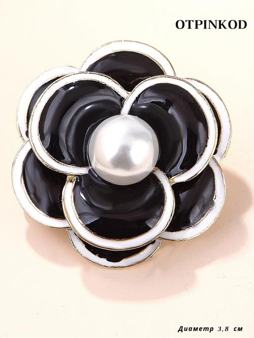 Брошь Камелия (черная)